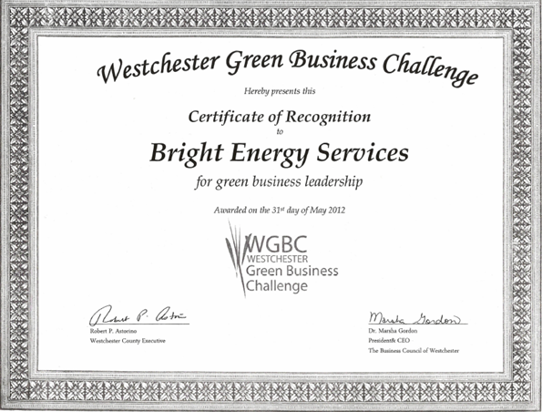 certificate wgbc recognition bright energy services receives