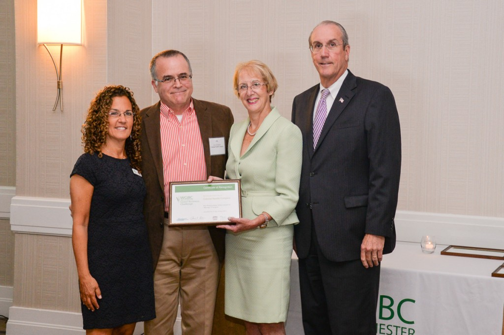 From left to right: Dani Glaser, Founder/CEO of Green Team Spirit & Westchester Green Business Challenge; Jim Collingham, Owner of The Colonial Needle Company; Marsha Gordon, President & CEO of the Business Council of Westchester; Kevin Plunkett, Deputy County Executive of Westchester County.